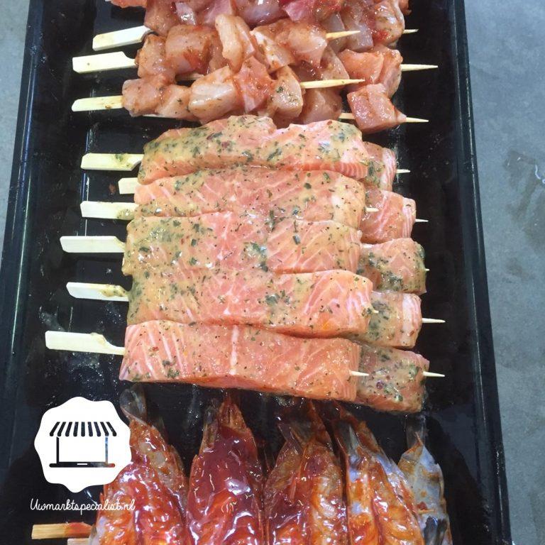Heerlijk vis BBQ spiezen