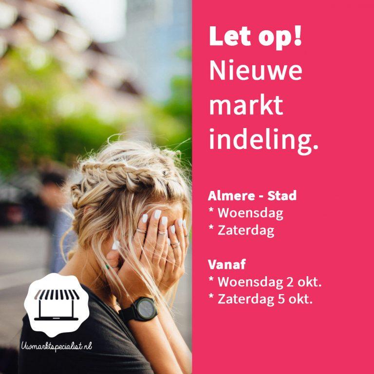 Nieuwe indeling woensdag en zaterdagmarkt Almere Stad stadhuisplein
