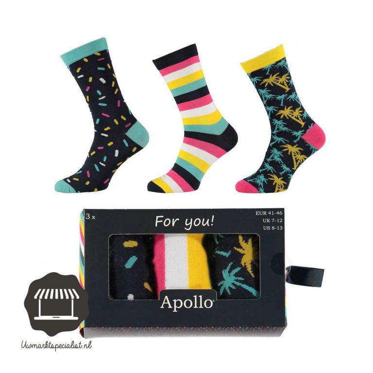 3 paar vrolijke heren sokken in cadeau verpakking