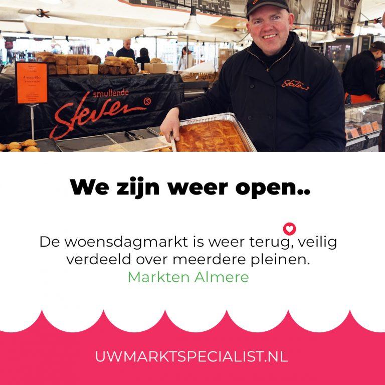 Woensdagmarkt Almere Stad is weer geopend!