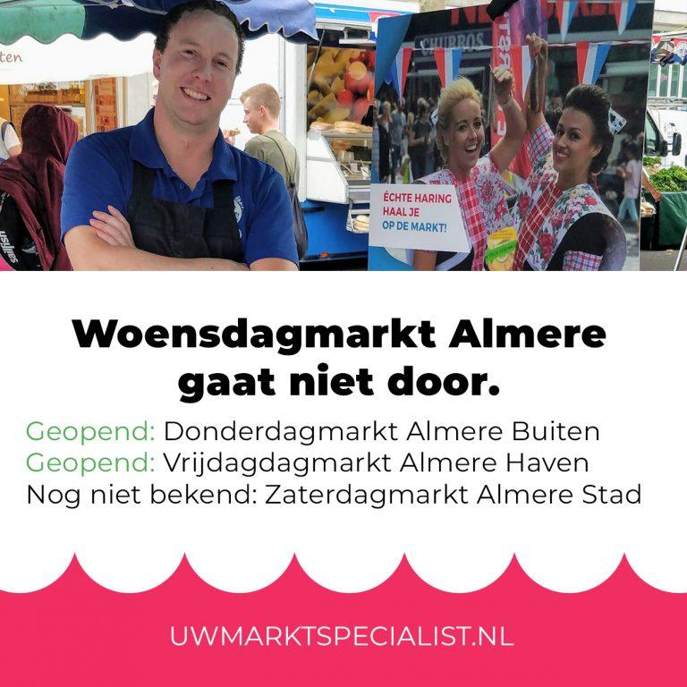 De woensdagmarkt van 18 maart in Almere Stad is afgelast