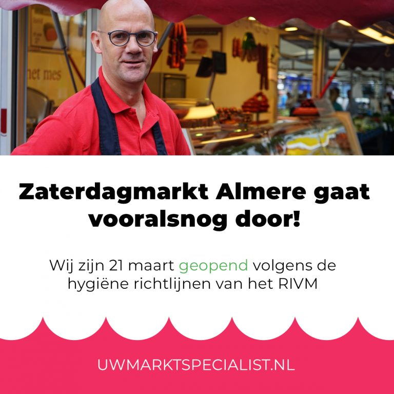 Zaterdagmarkt Almere Stad is open!
