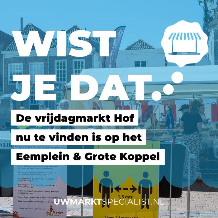 Tijdelijkemarktverplaatsing vrijdagmarkt Hof Amersfoort